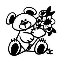 Ourson avec un bouquet de fleurs