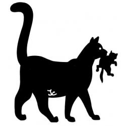 Silhouette de chat avec chaton